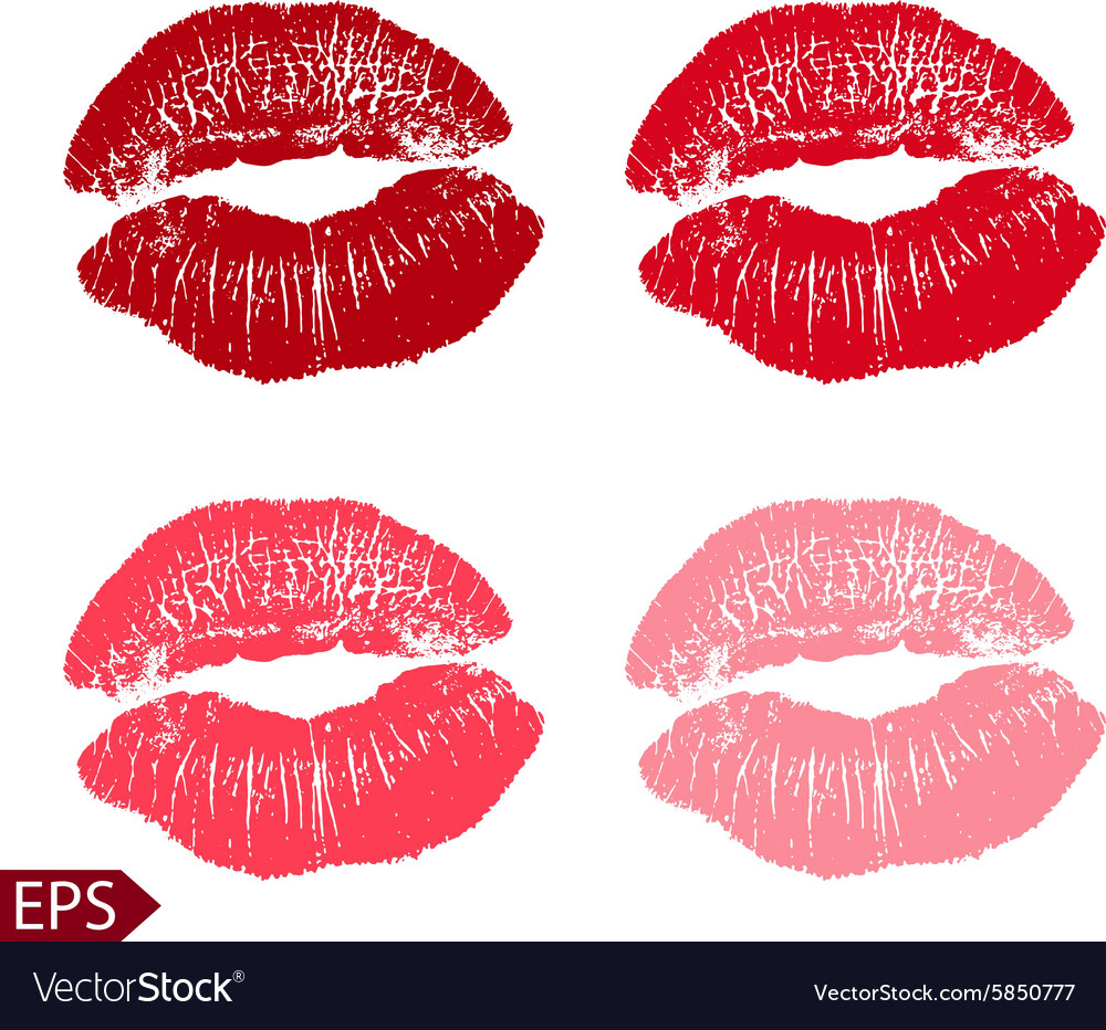 Print set of pink lips on a vector