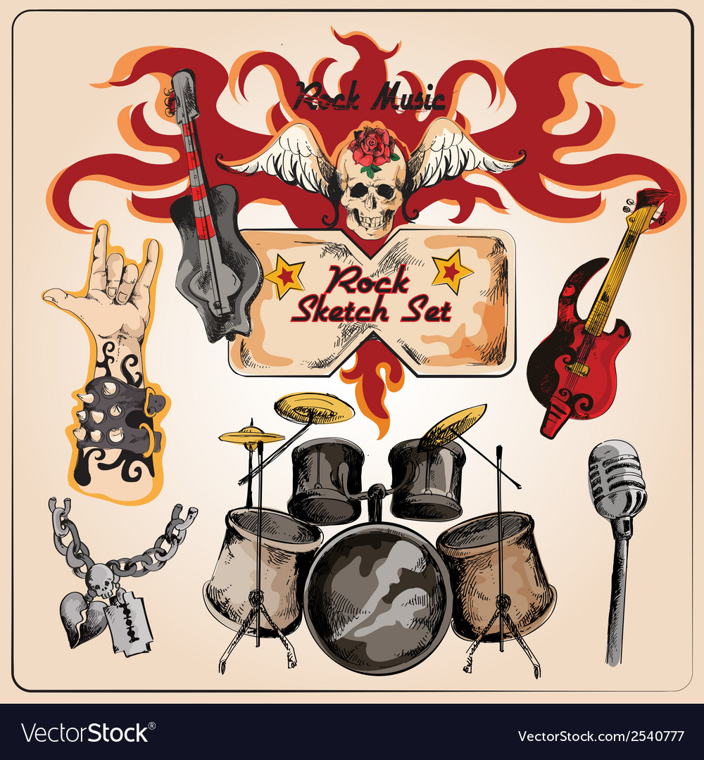 Rock music colored sketch set vector