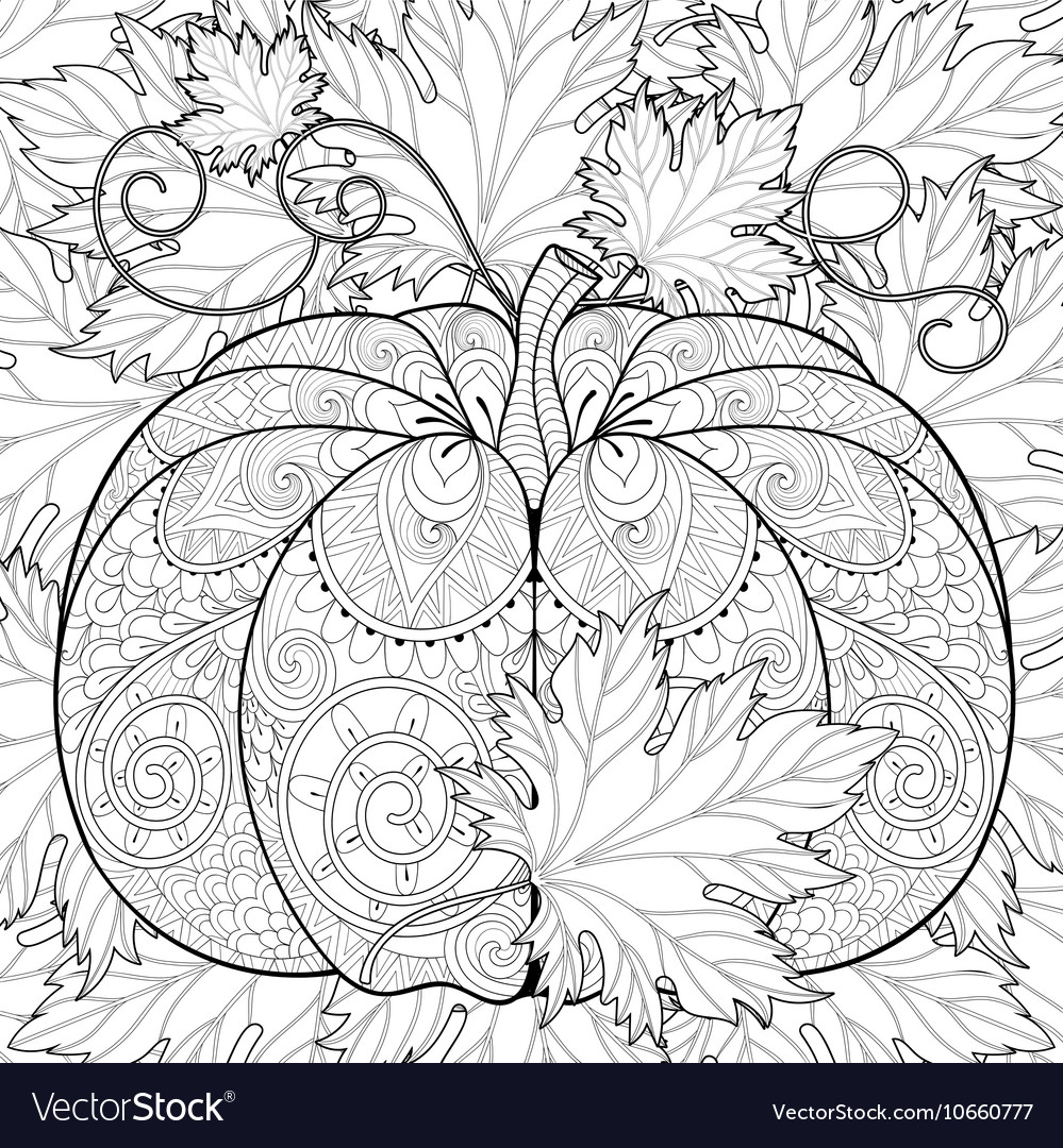 Zentangle stylized pumpkin on autumn leaves vector