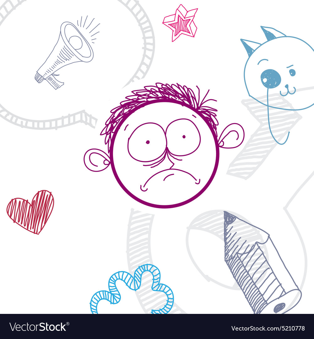 Colorful of sad cartoon boy isolated on spec vector