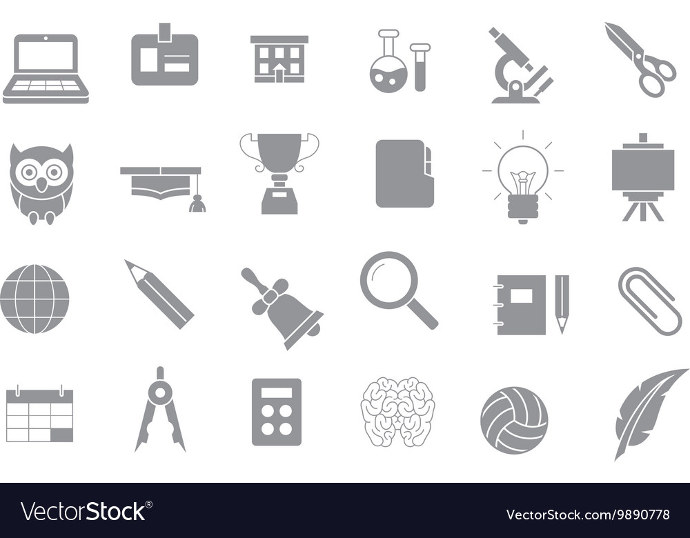 School elements gray icons set vector