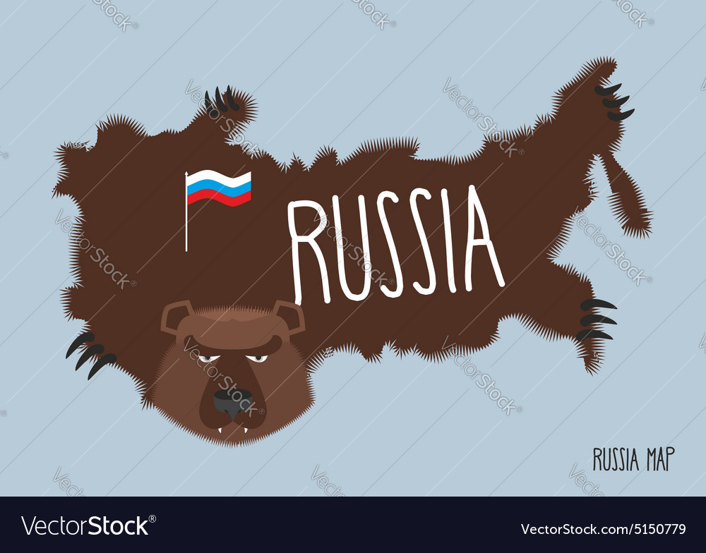 Map of russia in the form of bear skins vector