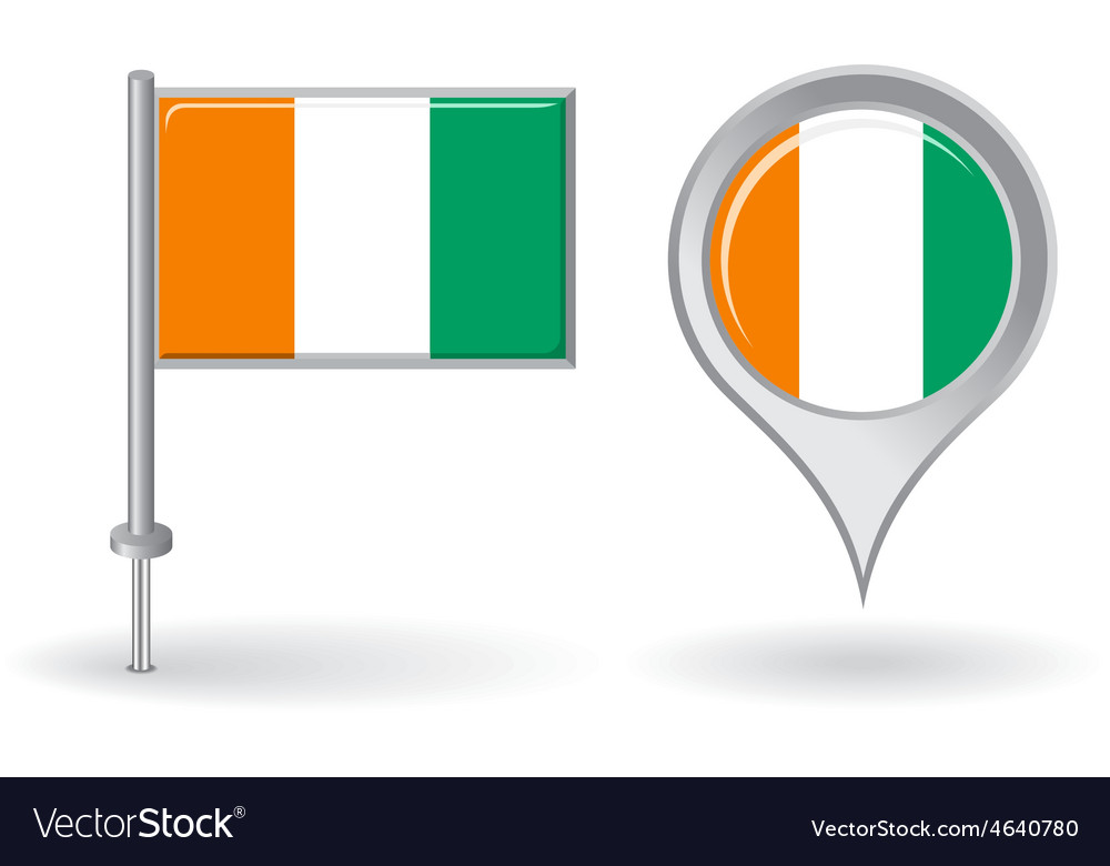 Cote d ivoire pin icon and map pointer flag vector