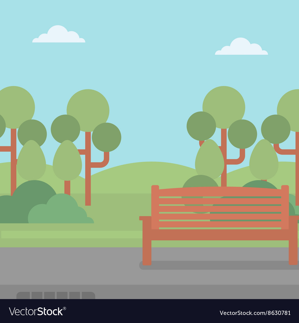 Background of park with bench vector