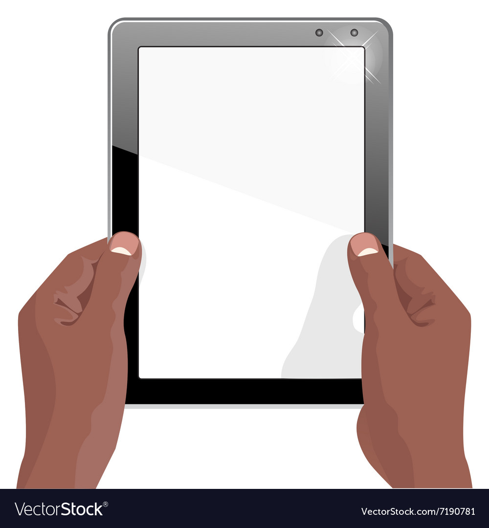 Hands of african american holding a tablet vector