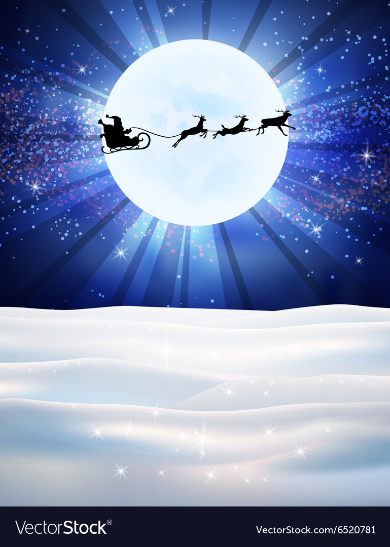 Reindeer and santa claus on moon background vector