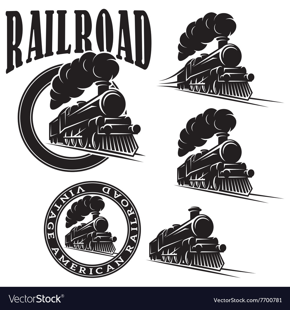 Set of templates with locomotive vintage vector