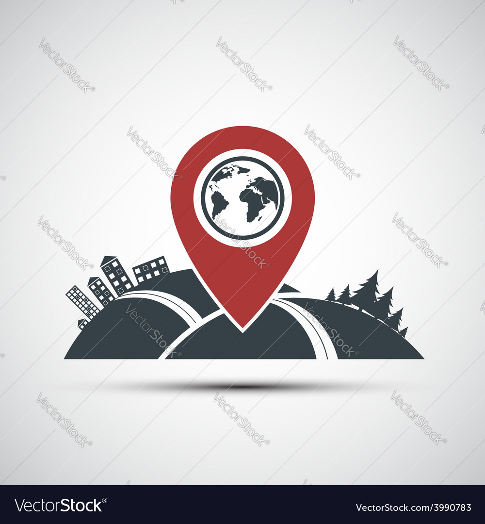 Icon pointer location on the map vector