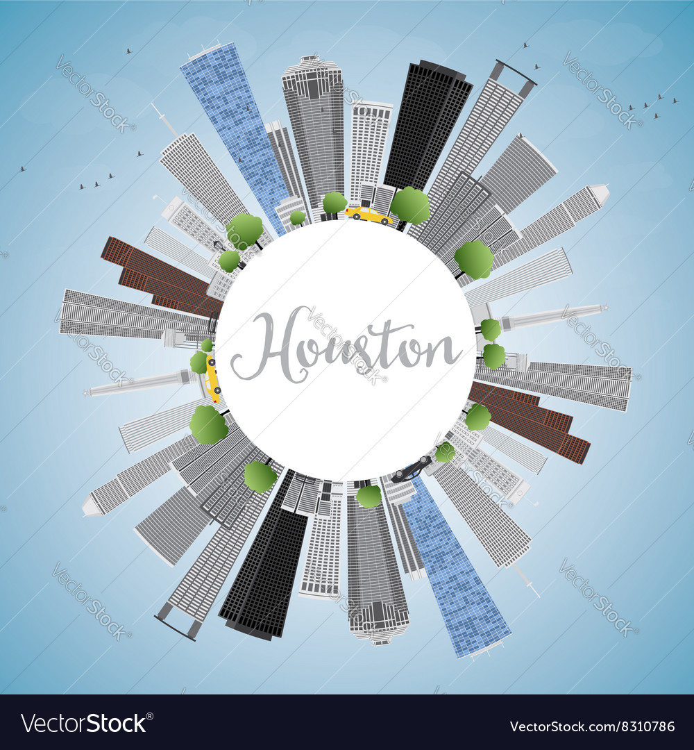 Houston skyline with gray buildings and blue sky vector