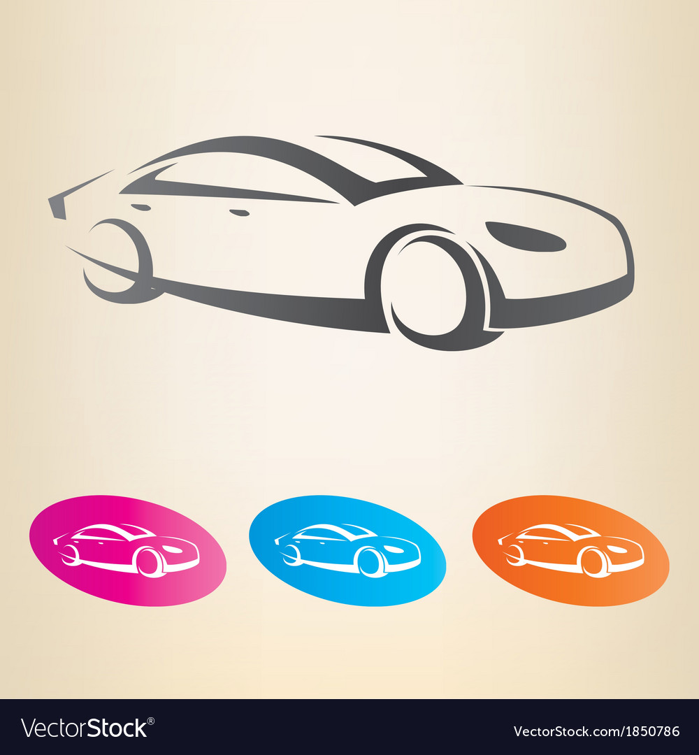 Modern car outlined symbol vector