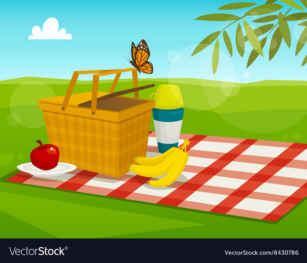 Summer picnic with park landscape cartoon basket vector