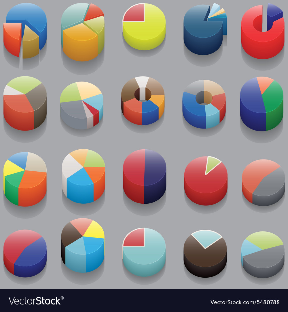 Set of 3d pie charts business items without vector