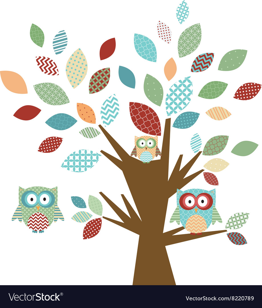 Cute owl and tree vector