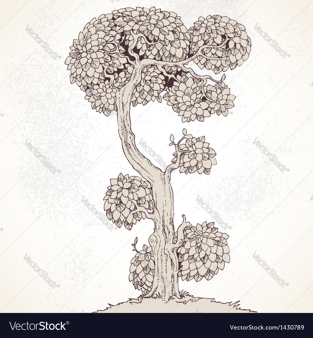Grunge vintage enchanted tree bizarre vector