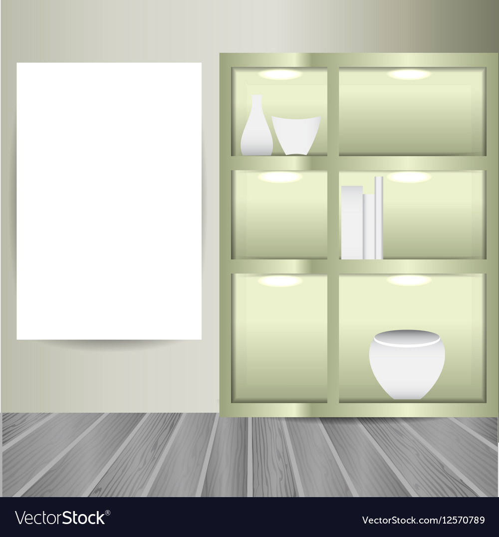 Mock up poster in the room with book shelves vector