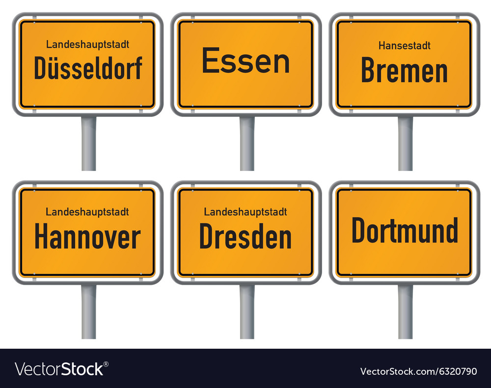 City limits signs of major german cities part 2 vector
