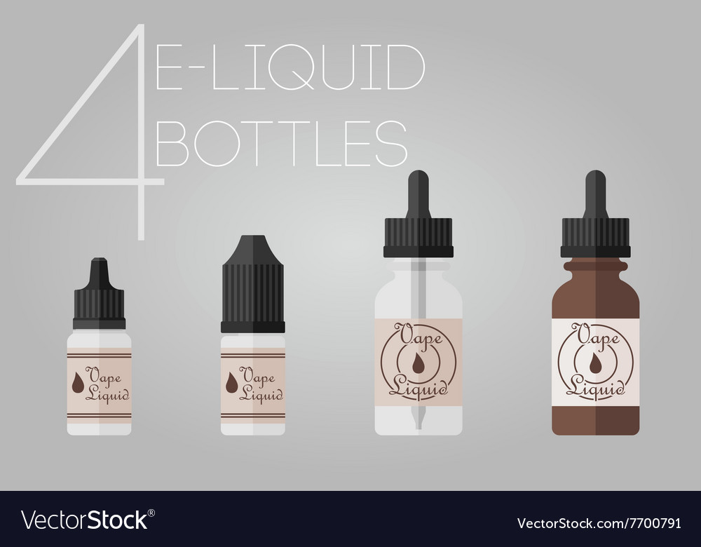 4 eliquid bottles vector