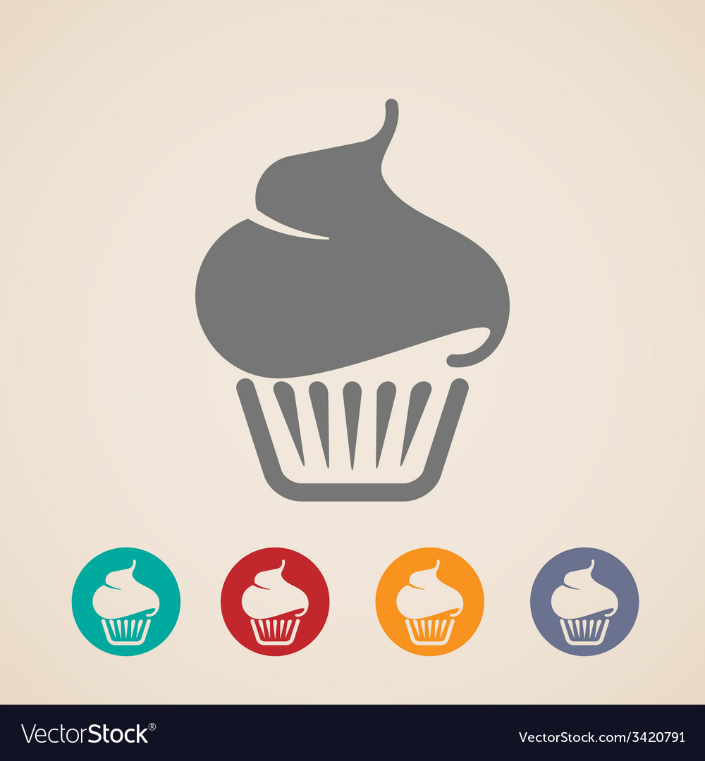 Cupcake icons vector