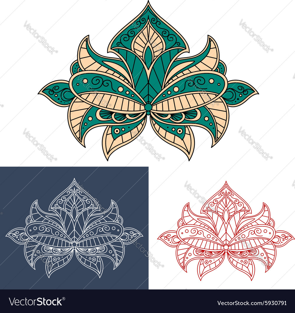 Graceful persian flower with paisley element vector