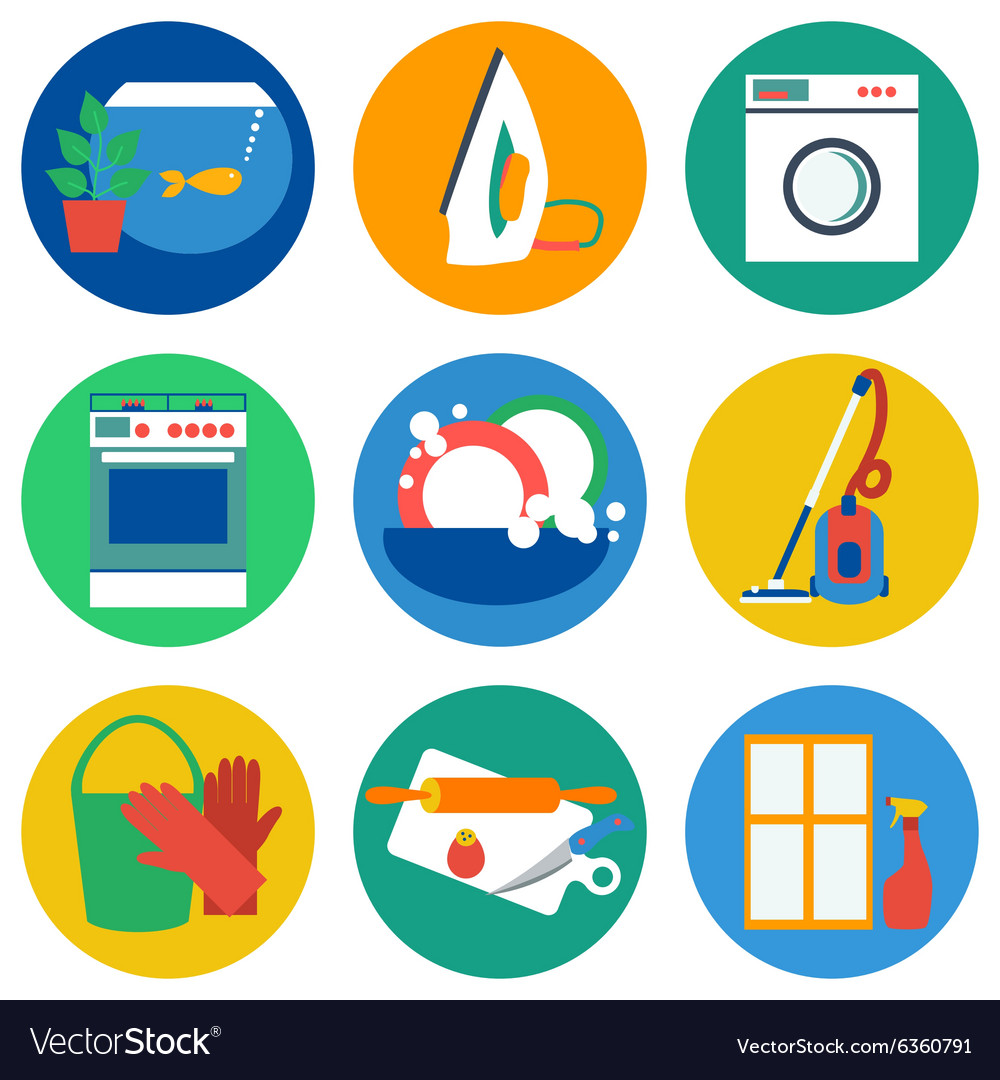 House work icons flat vector