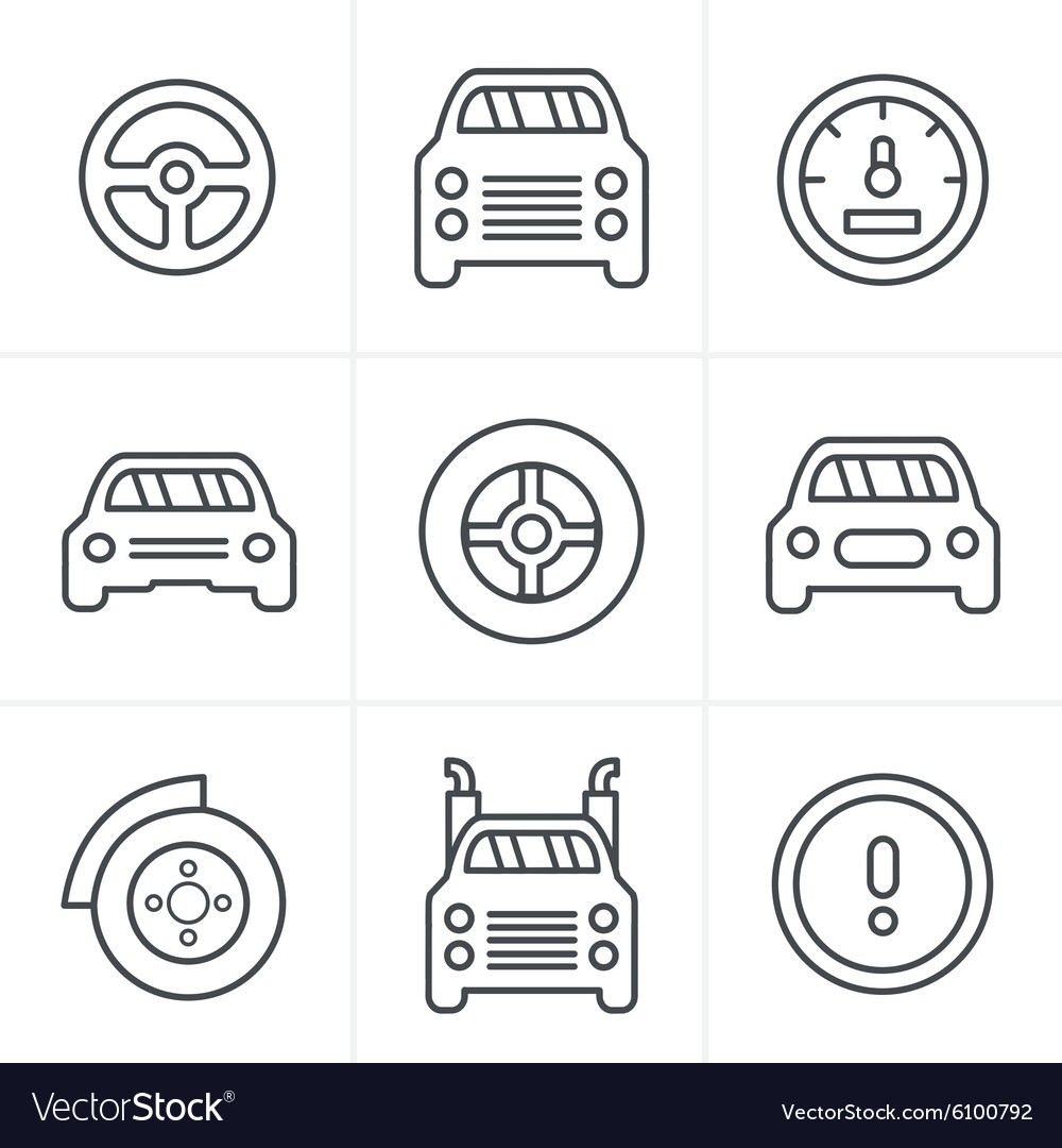 Line icons style car icons set design vector