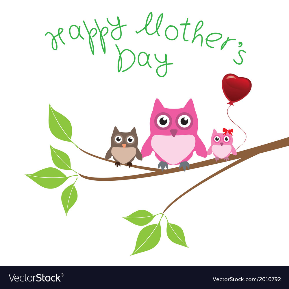 Owl love mom vector