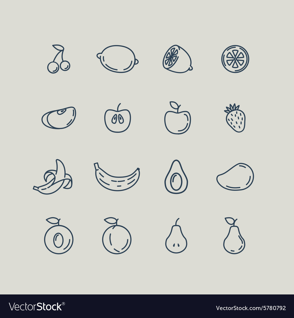 Set line icons fruit vector