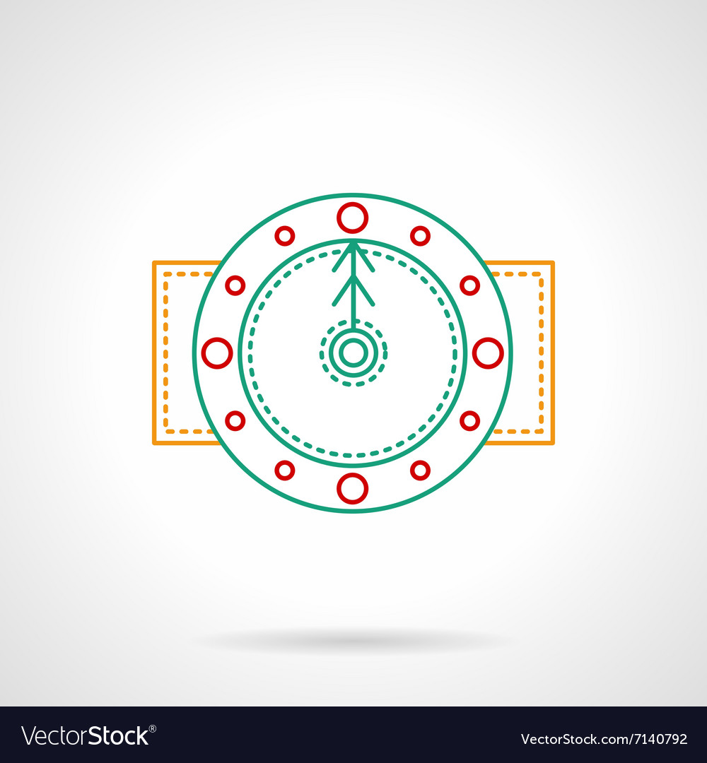 Thin color line round clock icon vector