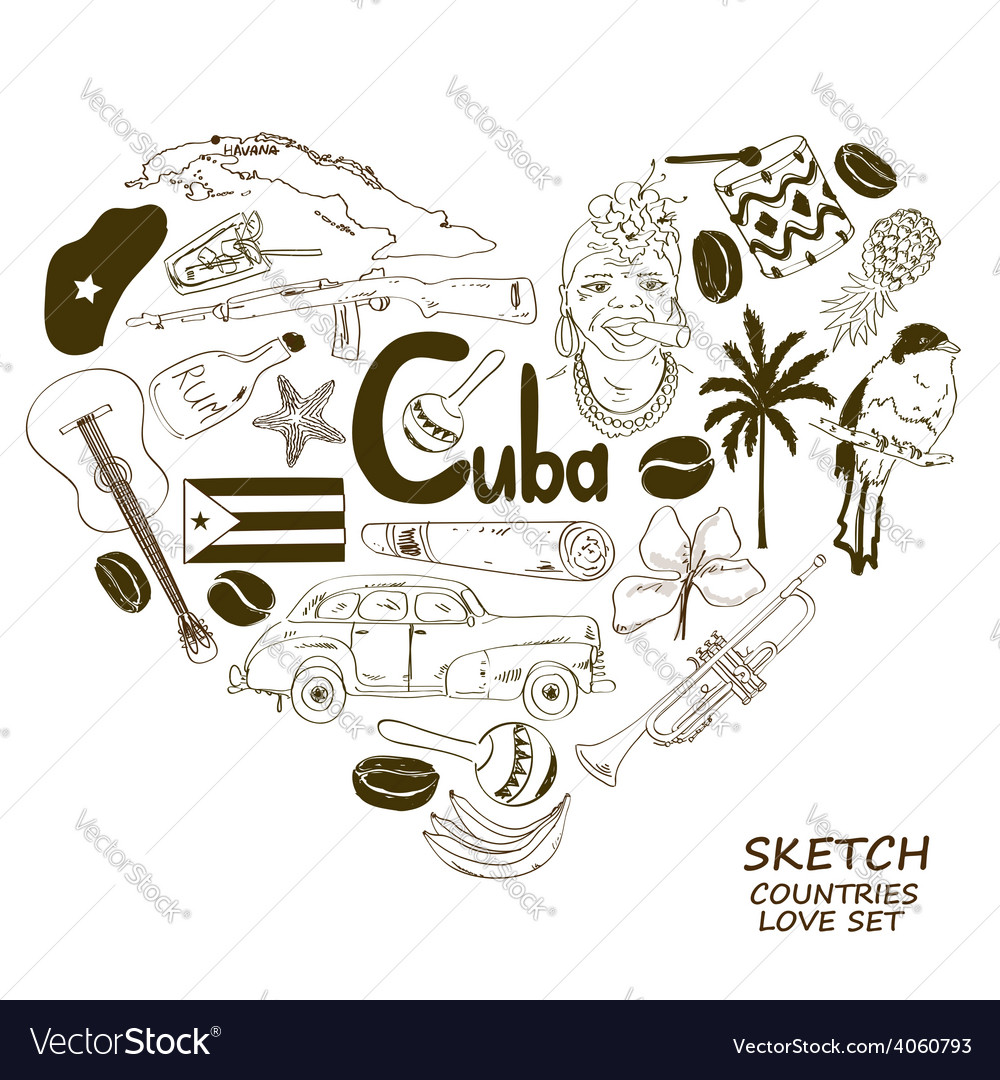 Cuban symbols in heart shape concept vector