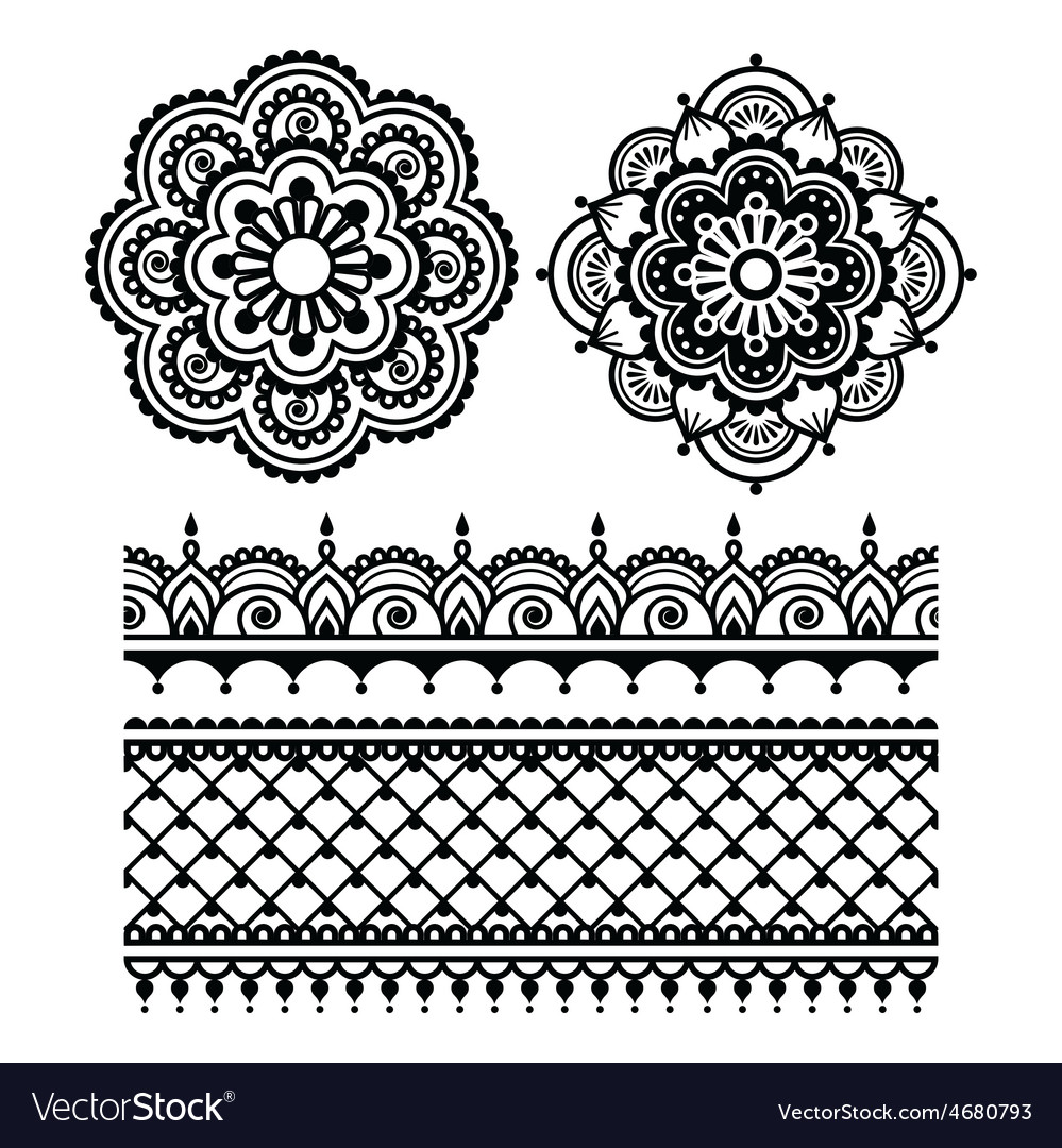 Mehndi indian henna tattoo seamless pattern vector