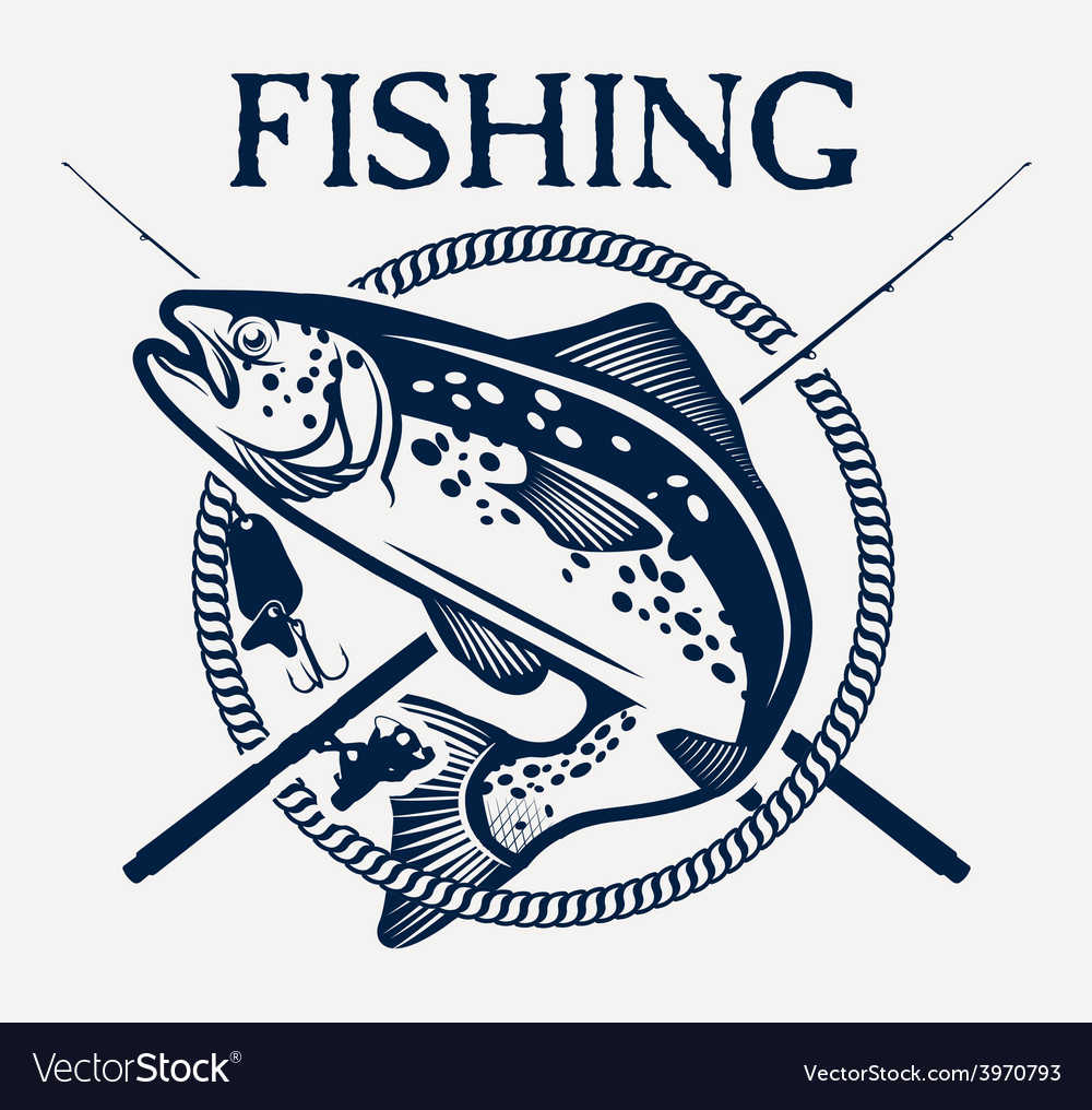 Trout fishing vector