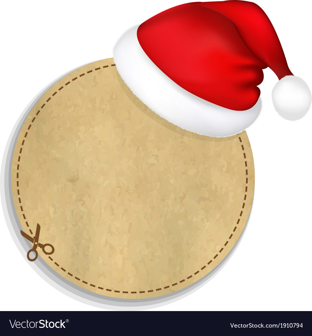Banner with cap of santa claus vector