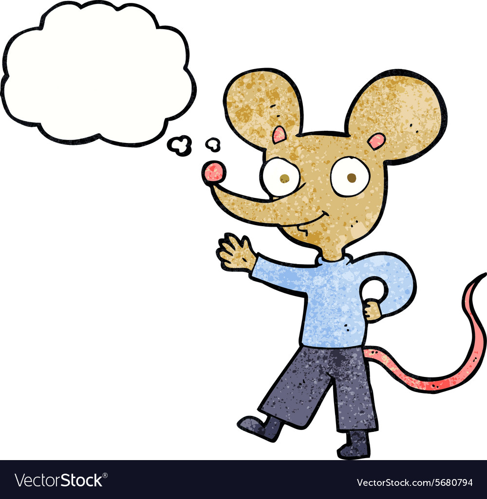 Cartoon waving mouse with thought bubble vector