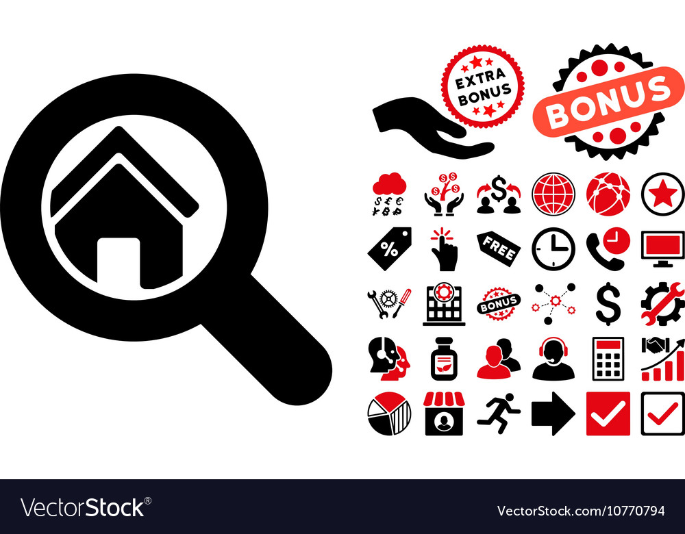 Search house flat icon with bonus vector