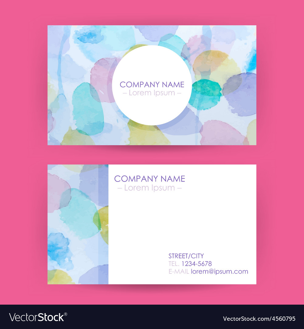 Abstract business card concept watercolor splashes vector