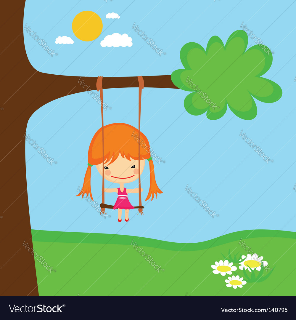 Girl swinging vector