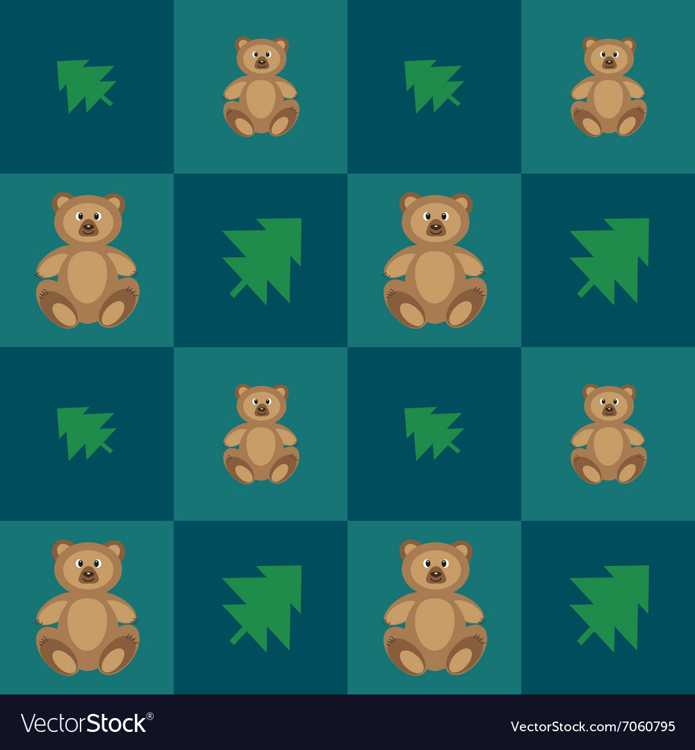 Pattern with cute bears vector