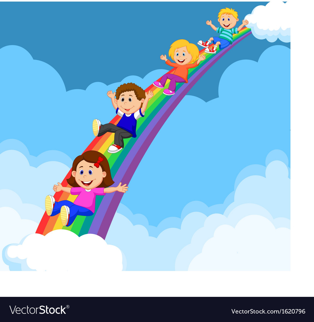 Cartoon kids sliding down a rainbow vector