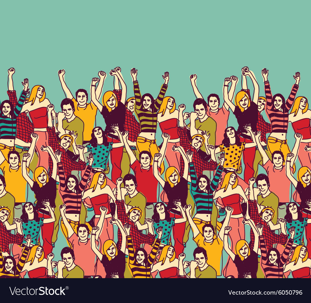 Group happy young people audience and sky color vector