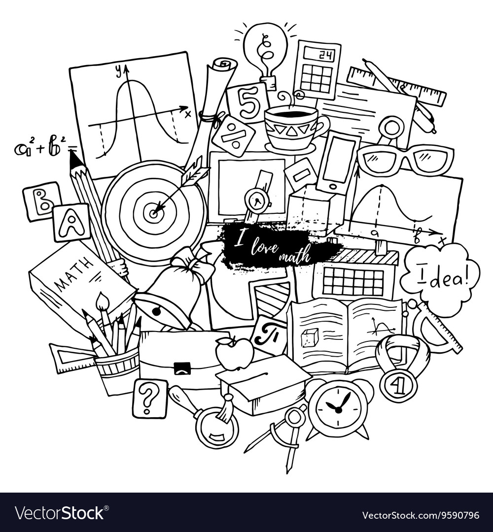 Mathematics science theme hand drawn pattern vector