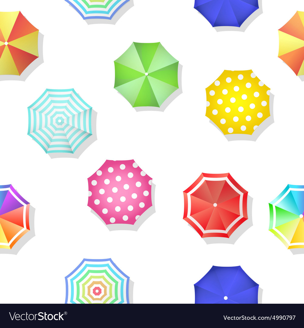 Beach set of sun umbrellas top view seamless vector