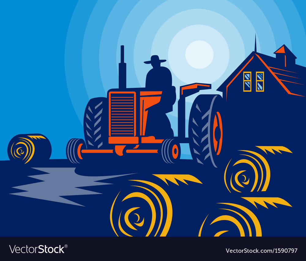 Farmer driving tractor hay bale farmhouse barn vector