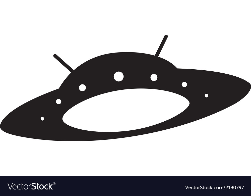 Silhouette of flying saucer vector