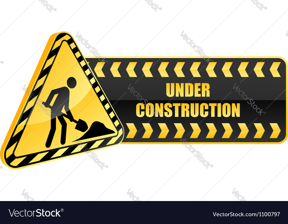 Under construction icon and warning sign vector