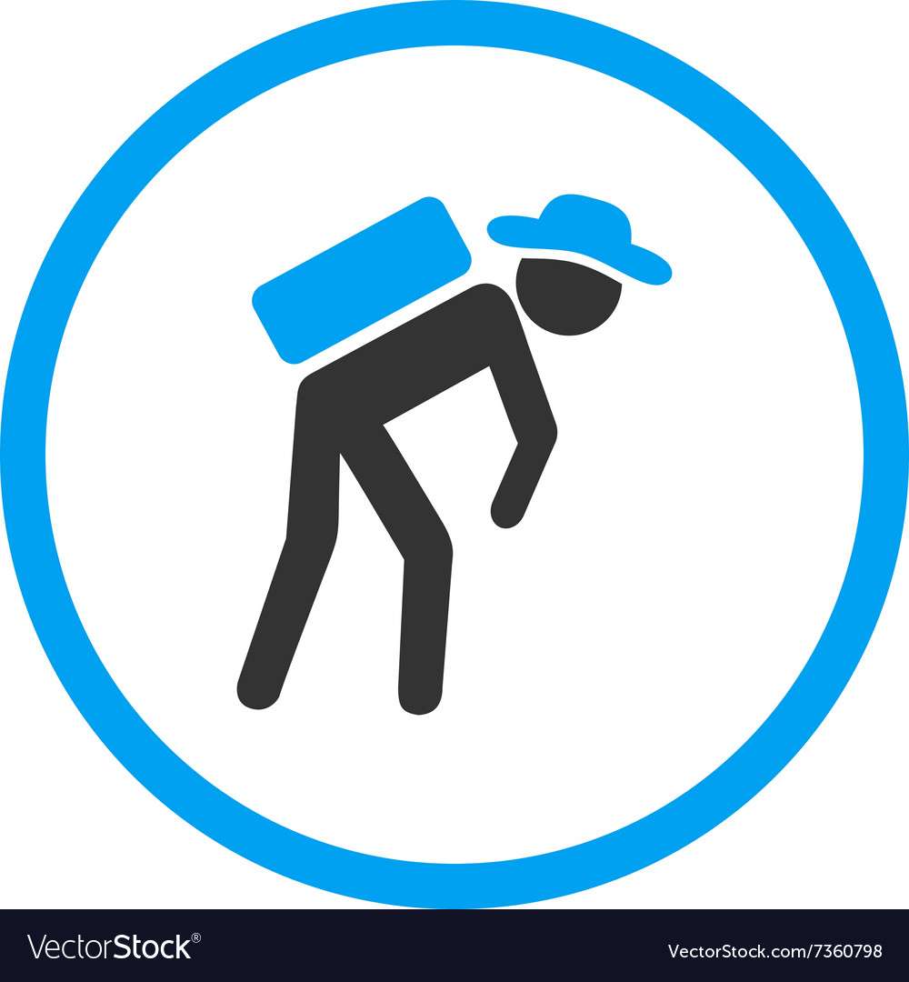 Human porter circled icon vector