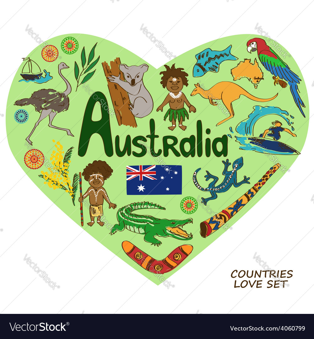 Australian symbols in heart shape concept vector