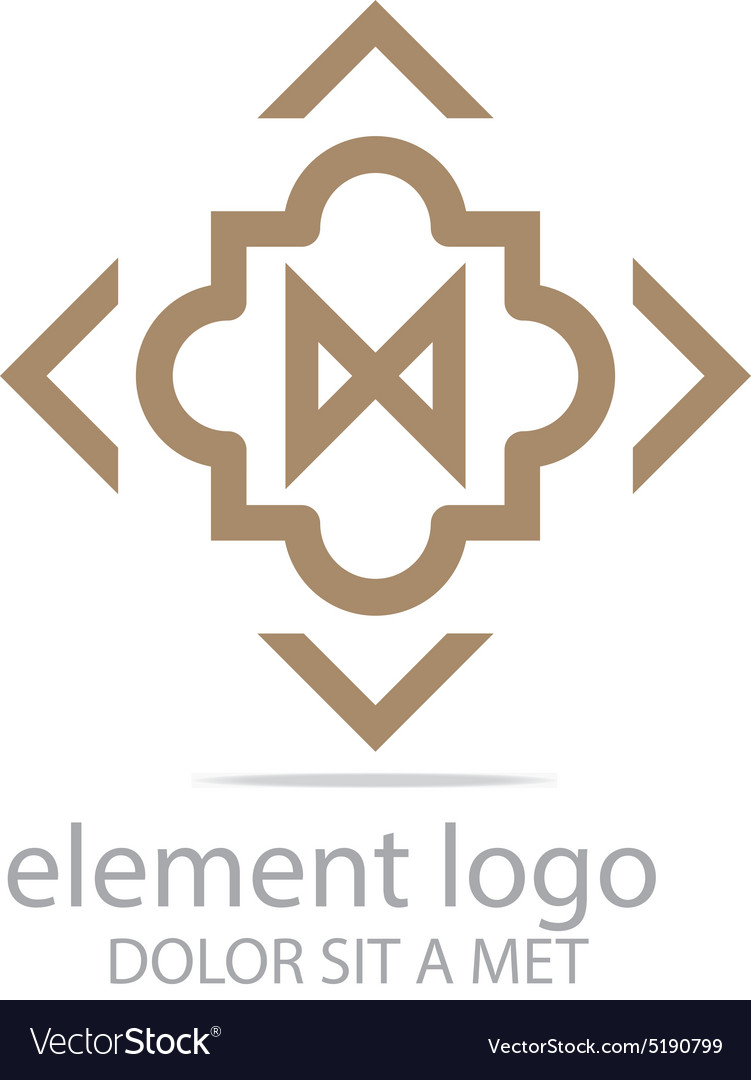 Logo brown element arrow arch design symbol icon vector