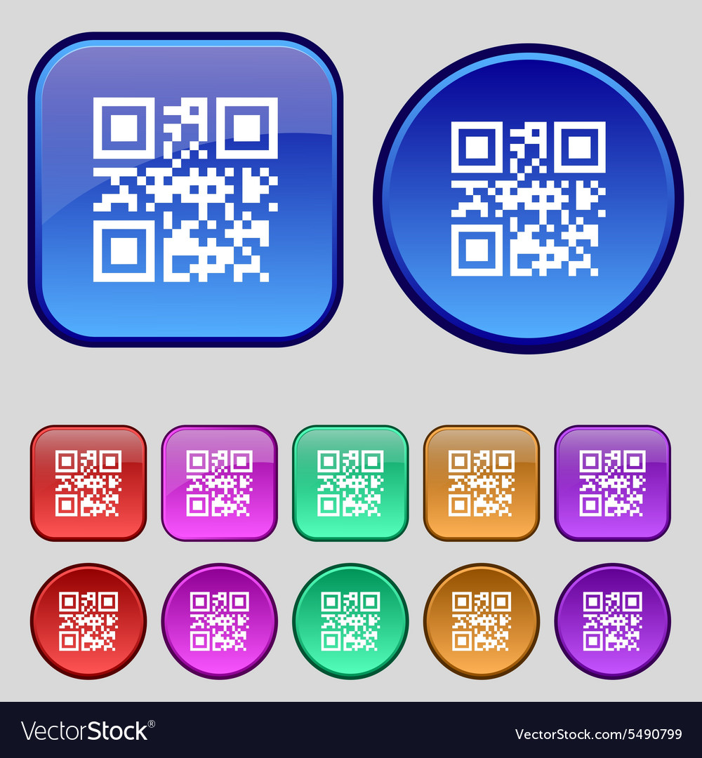 Qr code icon sign a set of twelve vintage buttons vector
