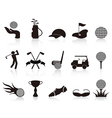 black golf icons set vector image vector image