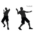 man in Football pose on white background vector image